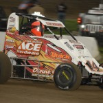 Shane Cockrum drove to victory in Friday's Lucas Oil POWRi National Midget Series event at Jacksonville (Ill.) Speedway. (Mark Funderburk Photo)