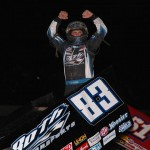 Tim Kaeding celebrates after winning Saturday's World of Outlaws STP Sprint Car Series race at Tri-State Speedway in Haubstadt, Ind. (Mark Funderburk Photo)