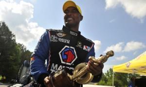 Antron Brown celebrates his 2013 NHRA Top Fuel victory at Atlanta Dragway. (NHRA Photo)