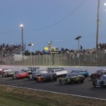 The Pro All Stars Series South late-model field prior to the start of racing Friday at Caraway Speedway in Asheboro, N.C. (Chris Owens Photo)