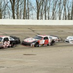 It was a bit of a reunion for the Sauter family during Sunday's ARCA Midwest Tour event at Madison Int'l Speedway as Tim Sauter (99), Travis Sauter (red 5) and Johnny Sauter (blue 5) battled for position. (Doug Hornickel Photo)