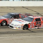 Ross Kenseth (25) battles Eddie Hoffman during Sunday's ARCA Midwest Tour event at Madison Int'l Speedway in Wisconsin. (Doug Hornickel Photo)