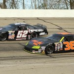 Chris Wimmer (52) and Dan Fredrickson during Sunday's ARCA Midwest Tour race at Madison Int'l Speedway in Wisconsin. (Doug Hornickel Photo)