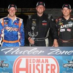 (From left) Jonathan Eilen, Dan Fredrickson and Tim Sauter filled the podium after Saturday's ARCA Midwest Tour event State Park Speedway in Wisconsin. (Doug Hornickel Photo)