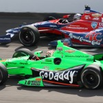 James Hinchcliffe (27) and teammate Marco Andretti during Sunday's Indianapolis 500 practice session at Indianapolis Motor Speedway. (IndyCar Photo)