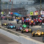 Cars flow down pit road during Indianapolis 500 practice Sunday at Indianapolis Motor Speedway. (IndyCar Photo)