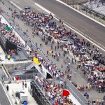 Pit road at Indianapolis Motor Speedway was a busy place on Saturday. (IndyCar Photo)