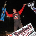 Danny Dietrich celebrates in victory lane after winning Friday's World of Outlaws STP Sprint Car Series feature at Lincoln Speedway in Abbottstown, Pa. (Hein Brothers Photo)