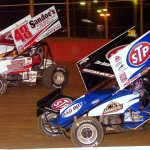 Donny Schatz (15) battles Danny Dietrich during Friday's World of Outlaws STP Sprint Car Series event at Lincoln Speedway in Abbottstown, Pa. (Hein Brothers Photo)