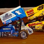 Kyle Larson (1k) and Brad Sweet during Friday's World of Outlaws STP Sprint Car Series event at Williams Grove Speedway. (Hein Brothers Photo)