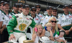 Ed Carpenter poses with his crew and family after qualifying for the 2013 Indianapolis 500. (Al Steinberg Photo)