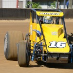 Tracy Hines wheels his No. 16 entry through a corner Friday during Traxxas USAC Silver Crown Series action at the Indiana State Fairgrounds. (Al Steinberg Photo)