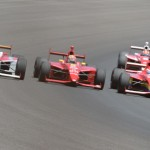 Carlos Munoz (26), Sage Karam (8) and Gabby Chaves (7) go three-wide through turn four with eventual race winner Peter Dempsey closing fast from fourth during Friday's Freedom 100 at Indianapolis Motor Speedway. (Al Steinberg Photo)