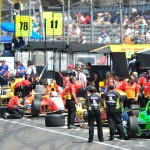 The Andretti Autosport pit area is a bevy of activity during practice Wednesday at Indianapolis Motor Speedway. (David E. Heithaus photo)