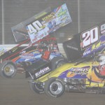 Eventual winner Caleb Griffith (40) battles Butch Schroeder during the 360-305 Sprint Challenge at Ohio's Attica Raceway Park. (Action photo)