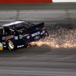 Brad Keselowski kicks up some sparks under his car during Saturday's Bojangles Southern 500 at Darlington (S.C.) Raceway. (NASCAR Photo)