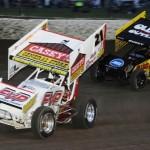 Brian Brown (21) battles Brad Sweet during Saturday's World of Outlaws STP Sprint Car Series event at Eldora Speedway in Ohio. (Julia Johnson Photo)