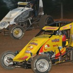 Tracy Hines (4) and Tyler Courtney during Friday's AMSOIL USAC National Sprint Car Series feature at Bloomington (Ind.) Speedway. (Dave Heithaus Photo)