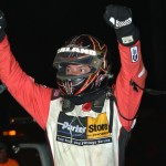 Dave Darland celebrates after winning Friday's AMSOIL USAC National Sprint Car Series event at Bloomington (Ind.) Speedway. (Dave Heithaus Photo)