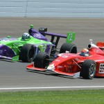 Peter Dempsey (5) battles Zach Veach during Friday's Firestone Freedom 100 at Indianapolis Motor Speedway. (Dave Heithaus Photo)