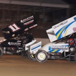 Trey Smith (11) battles Brandon Wimmer Saturday during the Engine Pro Sprints on Dirt event at Plymouth (Ind.) Speedway. (Gary Gasper Photo)