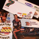 Darren Long poses in victory lane after winning Saturday's Engine Pro Sprints on Dirt event held at Plymouth (Ind.) Speedway. (Gary Gasper Photo)