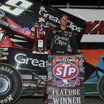 Daryn Pittman stands in victory lane after winning Saturday's World of Outlaws STP Sprint Car Series event at Eldora Speedway. (Julia Johnson Photo)