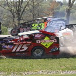 Modifieds race for position at Vermont's Devil's Bowl Speedway. (Leif Tillotson photo)