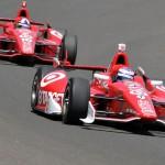 Scott Dixon (9) leads teammate Dario Franchitti during Tuesday's Indianapolis 500 practice session. (Ginny Heithaus Photo)