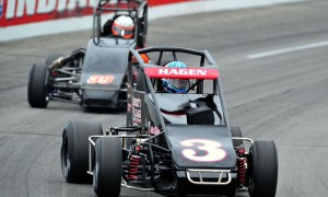 Darren Hagen (3) leads Todd Bertrand during the 2013 USAC National Pavement Midget Series action at Lucas Oil Raceway in Indiana. (Dave Heithaus Photo)