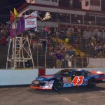 Jesse LeFevers takes the checkered flag in late model action at Hickory (N.C.) Motor Speedway. (HMS photo)