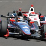 A.J. Allmendinger chases J.R. Hildebrand (4) Wednesday at Indianapolis Motor Speedway. (David E. Heithaus photo)
