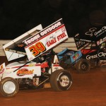 Greg Hodnett (39) and Daryn Pittman battle for position during Friday's World of Outlaws STP Sprint Car Series event at Williams Grove Speedway. (Julia Johnson Photo)