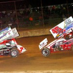 Danny Holtgraver (45) chases leader Eric Williams en route to winning Saturday's sprint car feature at Mercer Raceway Park. (Hein Brothers photo)