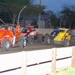 Russ Gamester (51) leads the field during Friday's Traxxas USAC Silver Crown Series event at the Indiana State Fairgrounds. (Gordon Gill Photo)