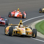 Ryan Hunter-Reay (1) leads a pack of Andretti Autosport cars including Marco Andretti, E.J. Viso and Carlos Munoz during Indianapolis 500 practice Sunday. (Dave Heithaus Photo)