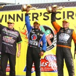 Mike Edwards (left), Antron Brown (center) and Johnny Gray were winners in their respective categories in NHRA Mello Yello Drag Racing Series competition on Saturday at Atlanta Dragway. (Rhonda Hogue McCole Photo)