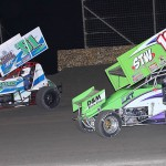 Johnny Brown (B51) and Klint Angelette during Friday's ASCS Gulf South Region event at Golden Triangle Raceway Park in Beaumont, Texas. (RonSkinnerPhotos.com Photo)