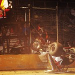 Roger Oakes ended up on his roof during the first attempt to start Friday's ASCS Gulf South Regoin feature at Golden Triangle Raceway Park. He was unhurt. (RonSkinnerPhotos.com Photo)