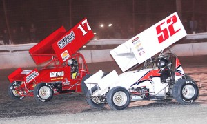 Blake Hahn (17) and Roger Oakes during the 2013 ASCS Gulf South Region competition at Battleground Speedway. (RonSkinnerPhotos.com Photo)