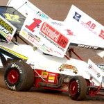 Phillip Mock (1) battles Bill Balog during IRA sprint car action at Wisconsin's Beaver Dam Raceway. (Bob Cruse photo)