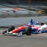 Takuma Sato crosses the yard of bricks during Indianapolis 500 practice on Sunday at Indianapolis Motor Speedway. (IndyCar Photo)