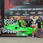 James Hinchcliffe stands in victory lane with his crew after winning Sunday's IZOD IndyCar Series Itaipava Sao Paulo Indy 300. (IndyCar Photo)