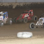 Jarett Andretti leads Logan Jarrett and Joe Ligouri during Sunday night's sprint car race at Indiana's Kokomo Speedway. (Gordon Gill photo)