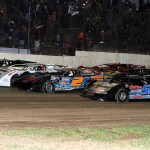 The Lucas Oil Late Model Dirt Series lines up four-wide prior to Saturday's feature event at LaSalle (Ill.) Speedway. (Mike Ruefer Photo)
