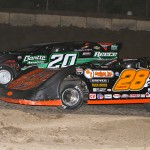 Eddie Carrier Jr. (28) and Jimmy Owens during Lucas Oil Late Model Dirt Series action at LaSalle (Ill.) Speedway. (Mike Ruefer Photo)
