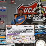 Brady Smith enjoys victory lane after winning Saturday's Lucas Oil Late Model Dirt Series event at LaSalle (Ill.) Speedway. (Mike Ruefer Photo)