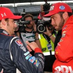 Marco Andretti (left) chats with E.J. Viso during Saturday's Indianapolis 500 qualifying session. (Ginny Heithaus Photo)