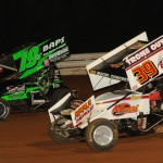 Brent Marks (19m) and Greg Hodnett during Friday's World of Outlaws STP Sprint Car Series race at Williams Grove Speedway. (Julia Johnson Photo)