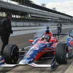 Marco Andretti spins the tires on his way out of the pits Sunday at Indianapolis Motor Speedway. (Ginny Heithaus Photo)